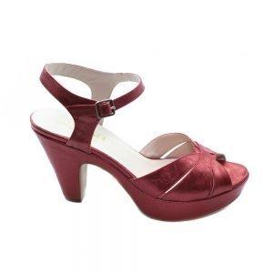 Maemi scarpa classica tacco 80mm in tessuto con cinturino regolabile - Rosso