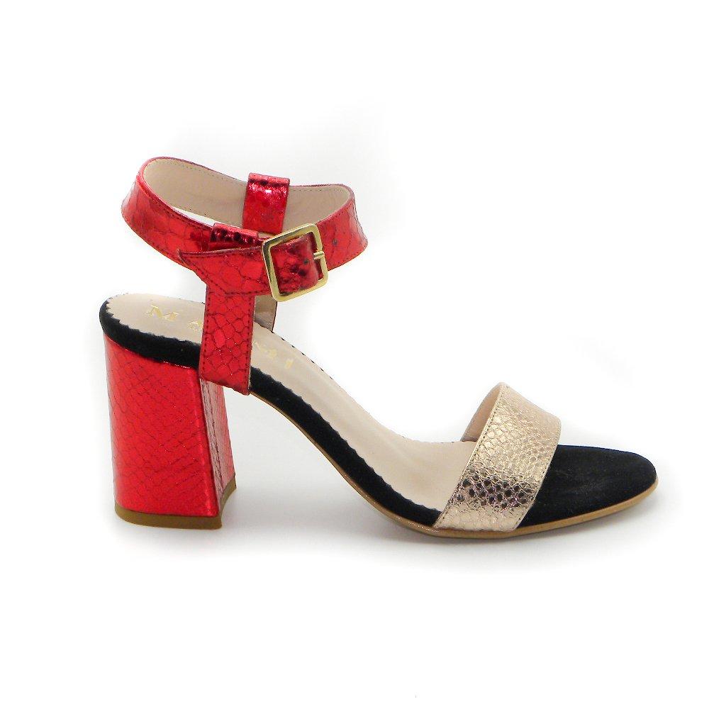 Maemi scarpa da cerimonia tacco 70mm con fibbia regolabile – rosso e rame