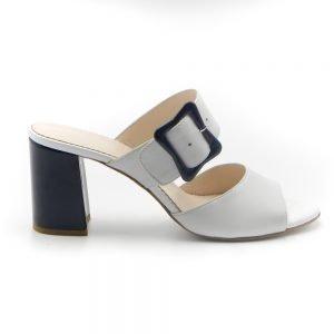 Maemi scarpa da cerimonia tacco 70mm con fibbia rivestita - bianco