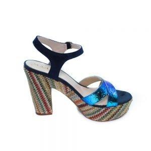 Maemi scarpa sportiva tacco 90mm multicolor con fascia a incrocio fluo – blu