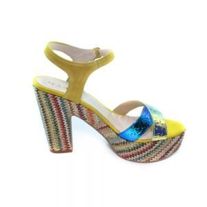 Maemi scarpa sportiva tacco 90mm multicolor con fascia a incrocio fluo – giallo