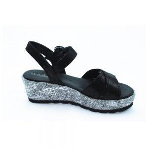 Maemi scarpa sportiva zeppa laminata 50mm con fibbia rivestita in tinta – nero