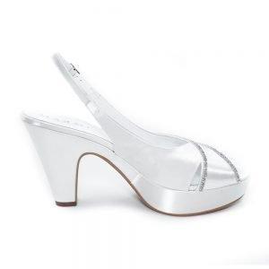 Sandalo da sposa bianco in tessuto strass