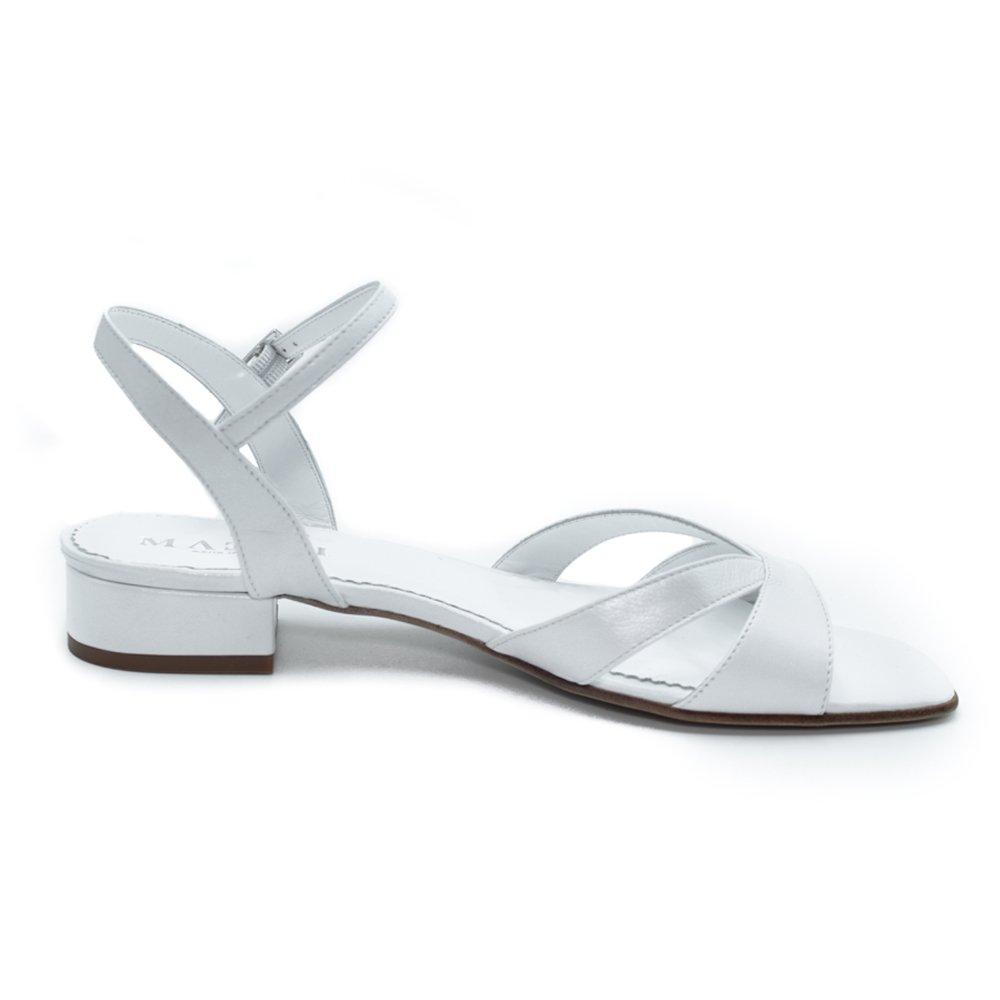 Maemi sandalo sposa regolabile tacco 20mm raso – bianco sposa