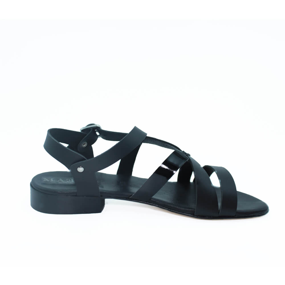Maemi sandalo Urban tacco 15mm punta tonda – Nero