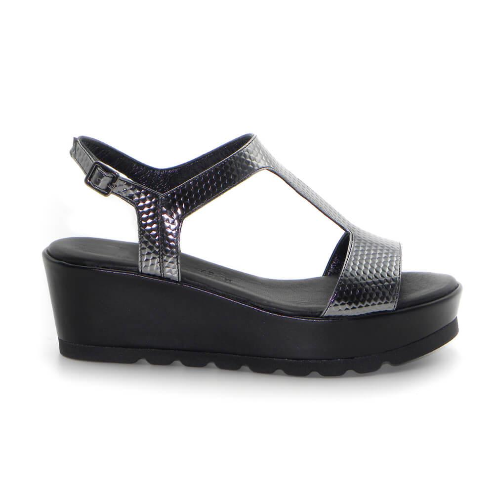 Maemi sandalo Classico zeppa 50mm con cinturino regolabile con fibbia – 3D Nero