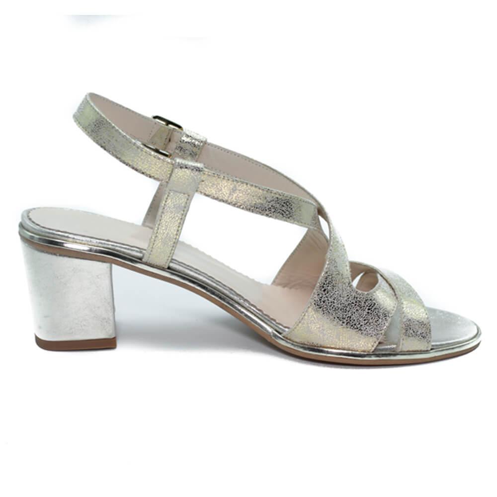 Maemi sandalo Cerimonia tacco 50mm con design incrociato – Platino