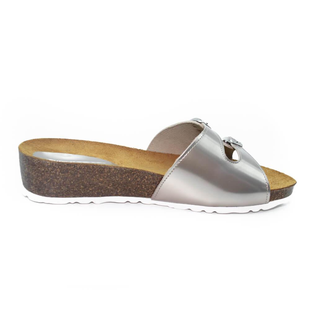 Maemi sandalo Sport tacco 30mm con fascia doppia fibbia – Lame Tortora